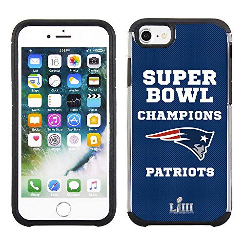 Apple iPhone 8 / iPhone 7 / iPhone 6s / iPhone 6 - NFL Licensed New England Patriots LIII Super Bowl Champions Blue Textured Back Cover on Black TPU Skin