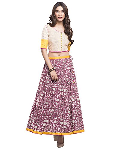 Cotton Printed Panelled Skirt Set/XS by Fabindia