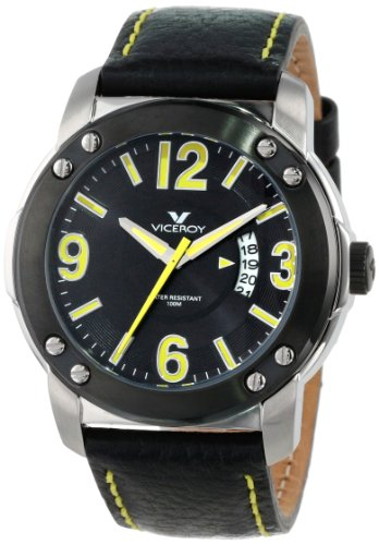 Viceroy Men's 46503-25 Ion-Plated Black Stainless Steel Bezel Black Strap Watch