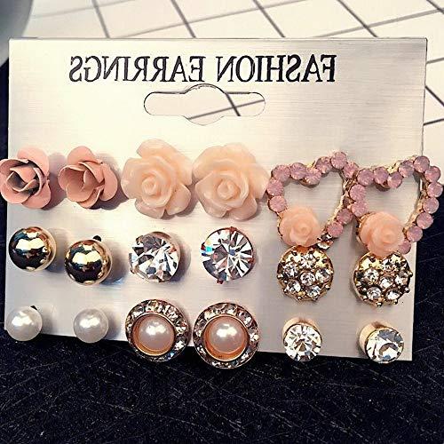 (Mikash 24Pair Women Fashion Rhinestone Crystal Pearl Ear Stud Earrings Set Jewelry Gift | Model JWRLBX - 393 | #16 9Pairs/Set)