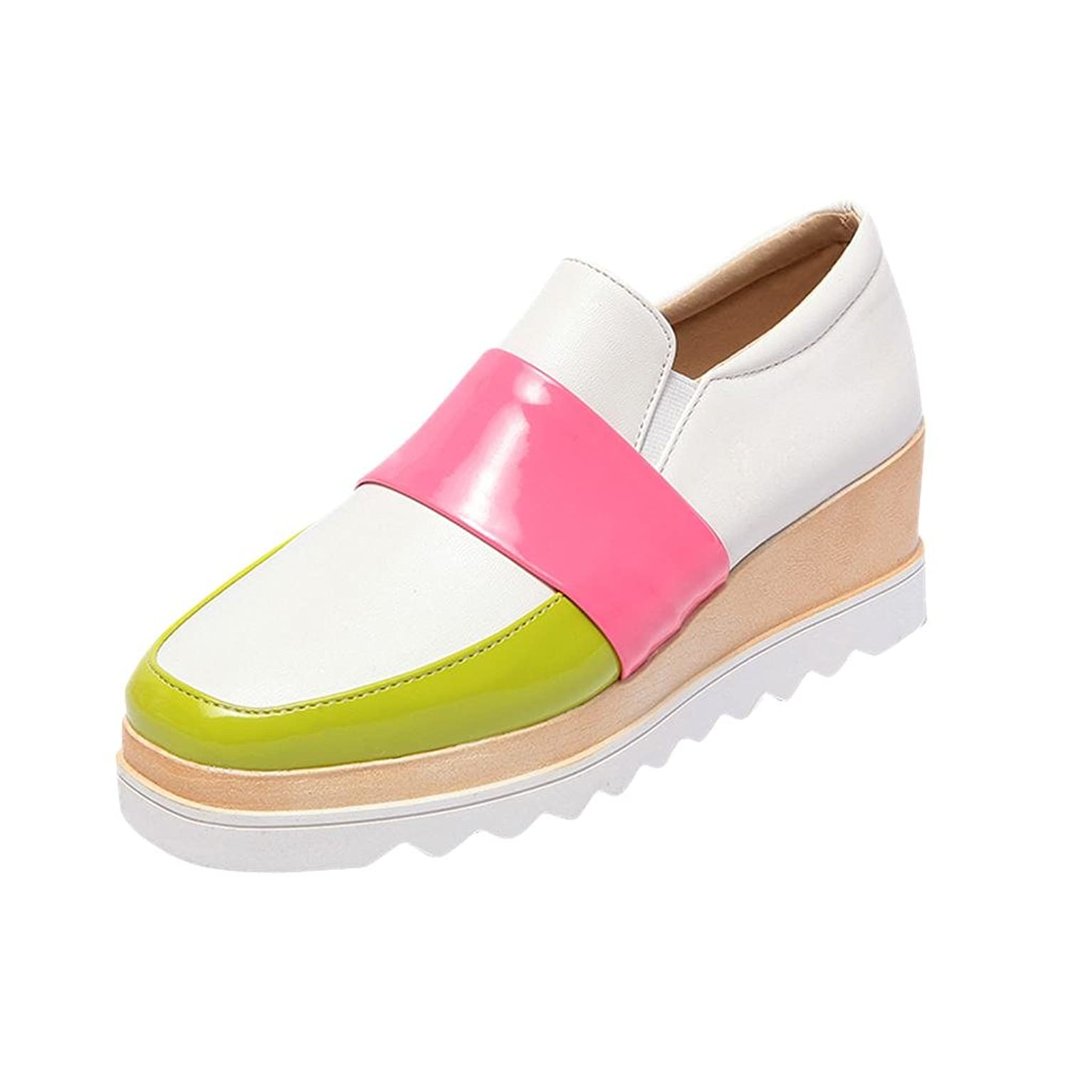 Carolbar Women's Assorted Colors Sweet Fashion Cute Lovely Wedge Heel Casual Shoes
