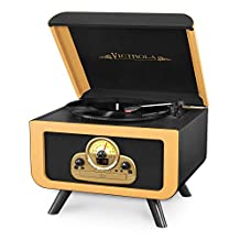 Innovative Technology ITVS-30-CAM Victrola Tabletop Nostalgic Bluetooth Wooden Turntable Entertainment Center