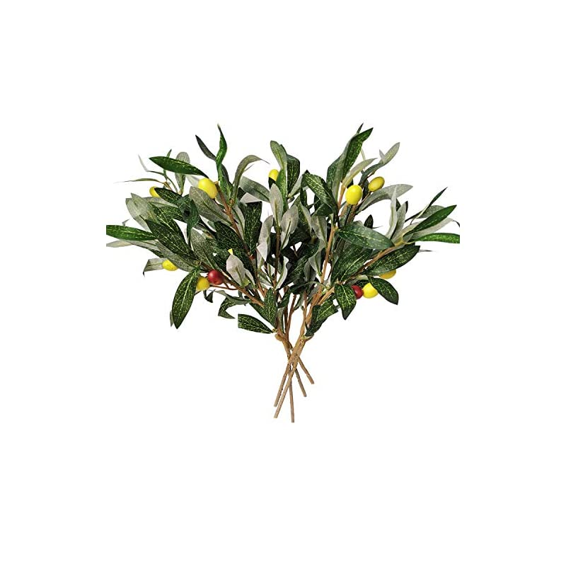 silk flower arrangements artificial olive leaves branches (5pcs) and stems with fruit | greenery for vases | faux tree plant | fake olives leaf spray | home kitchen party plastic decor af43