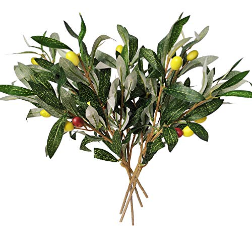 Artificial Olive Leaves Branches (5pcs) and Stems with Fruit for Decoration Faux Tree Plant Fake Olives Leaf Spray Home Kitchen Party Plastic Decor AF43 (Decor Kitchen Olive)