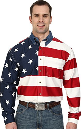 Roper Men's Stars & Stripes Pieced Flag Shirt L/S, Red, MT ()