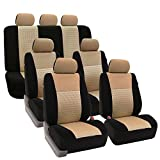FH GROUP FH-FB060217 Three Row Trendy Elegance Car Seat Covers w. 7 Headrests, Airbag compatible and Split Bench, Beige / Black color- Fit Most Car, Truck, Suv, or Van