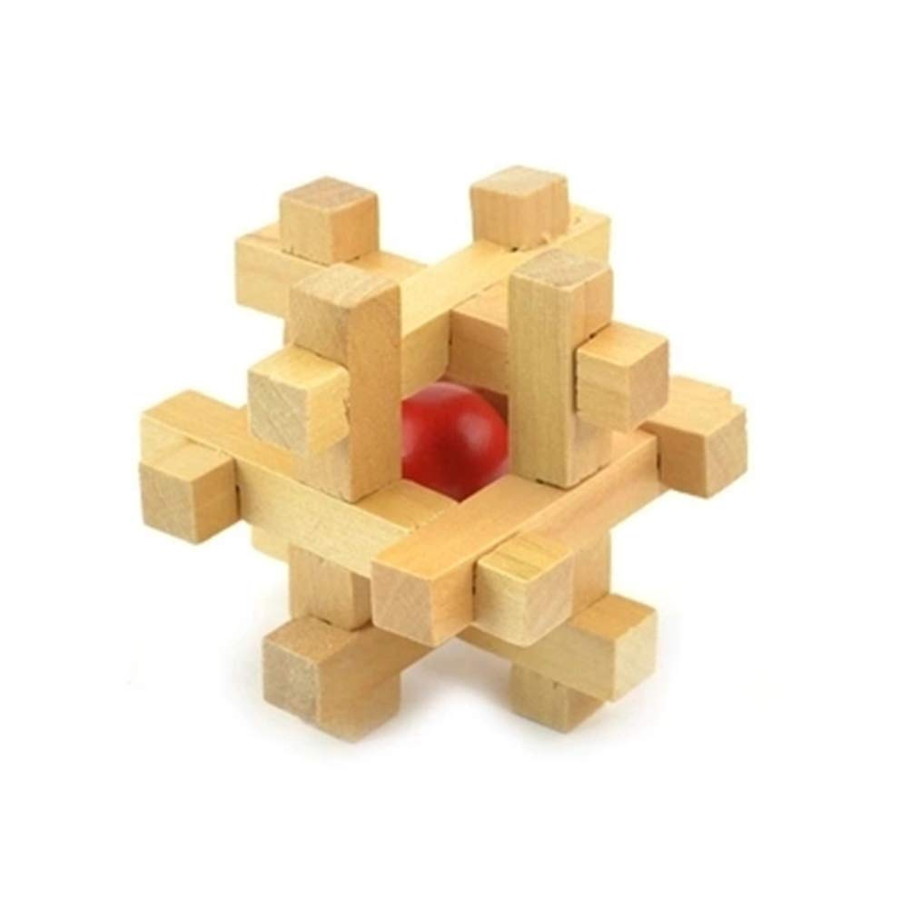 JIAAE Classical Puzzle Luban Lock Red Ball in The Cage Building Blocks Wooden Disassembly Children's Leisure Toy