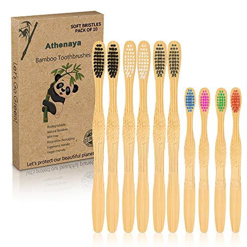 Spazzolino Bamboo 10 Pezzi, Senza BPA - Bamboo Toothbrushes Naturali Vegano ed Ecologici con Setole di Carbone Morbide e Disegno Individuale, Confezione Biodegradabile Sostenibile