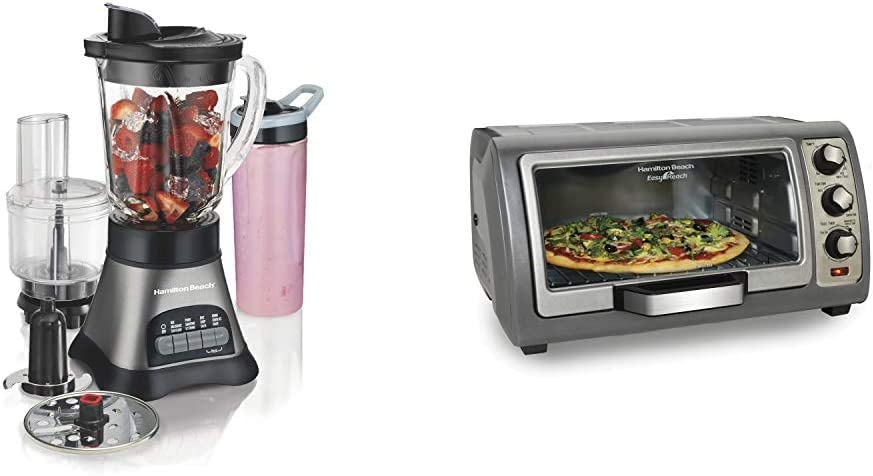 Hamilton Beach Wave Crusher Blender with 40oz Jar, Grey & Black (58163) & Countertop Toaster Oven, Easy Reach With Roll-Top Door, 6-Slice, Convection (31123D), Silver