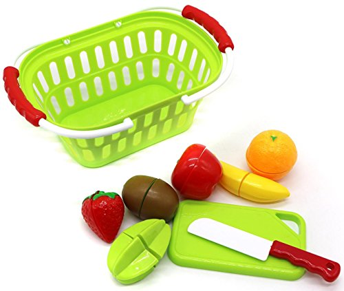 Little Treasures Play Cut Toy Food Fruit Take-Apart Toys Pretend Play Cut Slice & Chop Toy Foods With Cutting-Board, Fake Knife And Kids Toddles Shopping Basket (9 Piece Set)