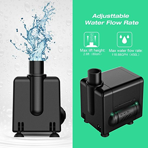Homasy 120 GPH(450L/H) Submersible Water Pump 6.5W Fountain Detachable Water Pump with 4.1Ft (1.25M) Power Cord for Aquarium, Pond, Fish Tank