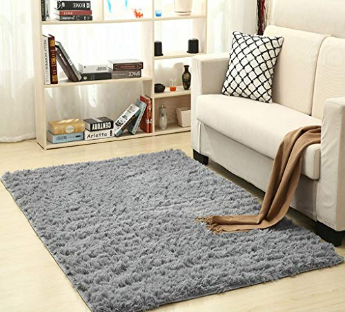 KKONION Super Soft Silk Wool Carpet Indoor Shag Area Rug Silky Bedroom Floor Mat Baby Nursery Fluffy Carpet Modern Home Decoration, 1.65x3.95ft