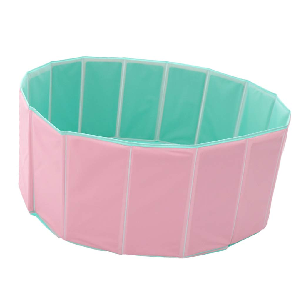 Baosity Foldable PVC Pet Play Paddling Pool Predable Puppy Swimming Cooling Bathing Tub Dia. 80cm (Pink)