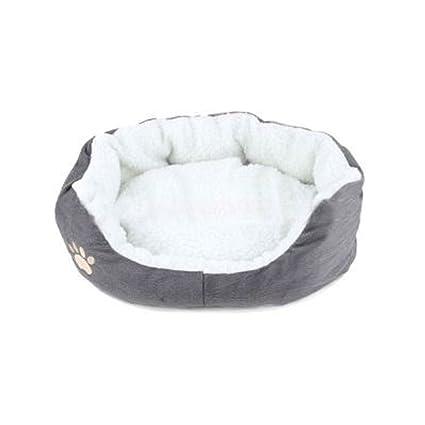 Sungpunet Cama para gatos y perros pequeños, hecha de lana, redonda u ovalada
