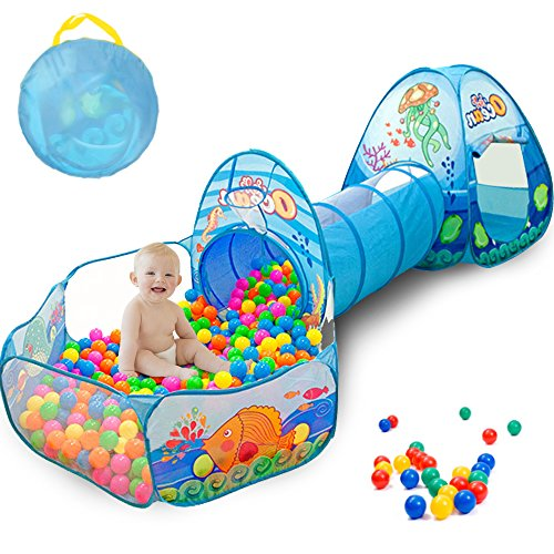 Sunba Youth Kids Tent with Tunnel, Pit Play House for Boys Girls, Babies and Toddlers Indoor& Outdoor ((Balls Not Included)) by Sunba Youth