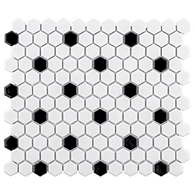 "SomerTile FXLMHWBD Retro Hexagon Porcelain Mosaic Floor and Wall Tile, 10.25"" x 11.75"", White with Black Dot"