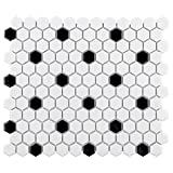 SomerTile FXLMHWBD Retro Hexagon Porcelain Mosaic Floor and Wall Tile, 10.25'' x 11.75'', White with Black Dot