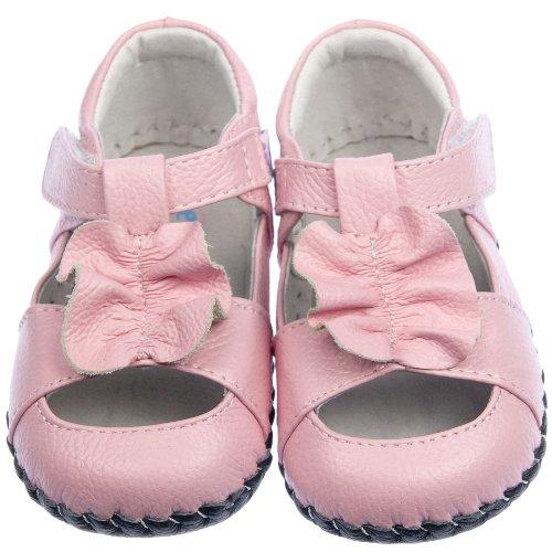 FREYCOO–infantil niñas Real piel suave suela zapatos de bebé sandalias en color rosa