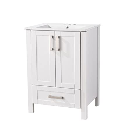 Ressortir Res 25bc001 Modern 24 Inches Single Bathroom Vanity Set With Ceramic Sink Include 2 Door And 1 Drawer White Finish