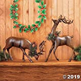 Bowing And Standing Reindeer Christmas Holiday Home Decor (set of 2)