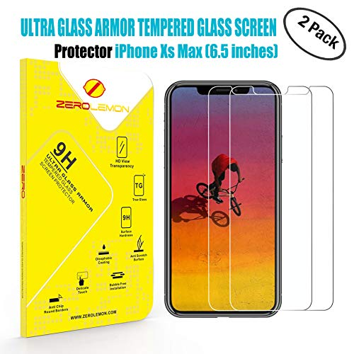 iPhone Xs Max Screen Protector, ZeroLemon 6.5inch Tempered Glass Film for OLED Display, 2 Pack