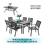 Outdoor Metal Dining Table Garden 6 Person Umbrella Table for Lawn Patio Pool Sturdy Steel Frame Weather-Resistant Coffee Bistro Table Black