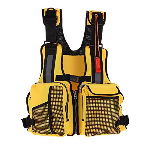- VGEBY Kayaking Fishing Life Jacket Watersports Life Jacket with Multi-Pockets Whistle and Reflective Stripe (Color:Yellow)