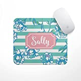striped mouse pad - Personalized Mouse Pad - Blue Striped Flowers - Custom Personalize Gift MousePad