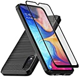 E-outfit Samsung Galaxy A10E Case, with Tempered Glass Screen Protector, Slim Soft TPU Protective Rubber Bumper Case Cover for Samsung Galaxy A10E Phone (Black)