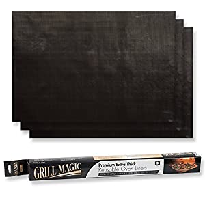 Non-Stick Heavy Duty Oven Liners(3-Piece Set)-Thick,Heat Resistant Fiberglass Mat-Easy to Clean-Reduce Spills, Stuck Foods and Clean Up-Kitchen Friendly Cooking Accessory,FDA Approved by Grill Magic