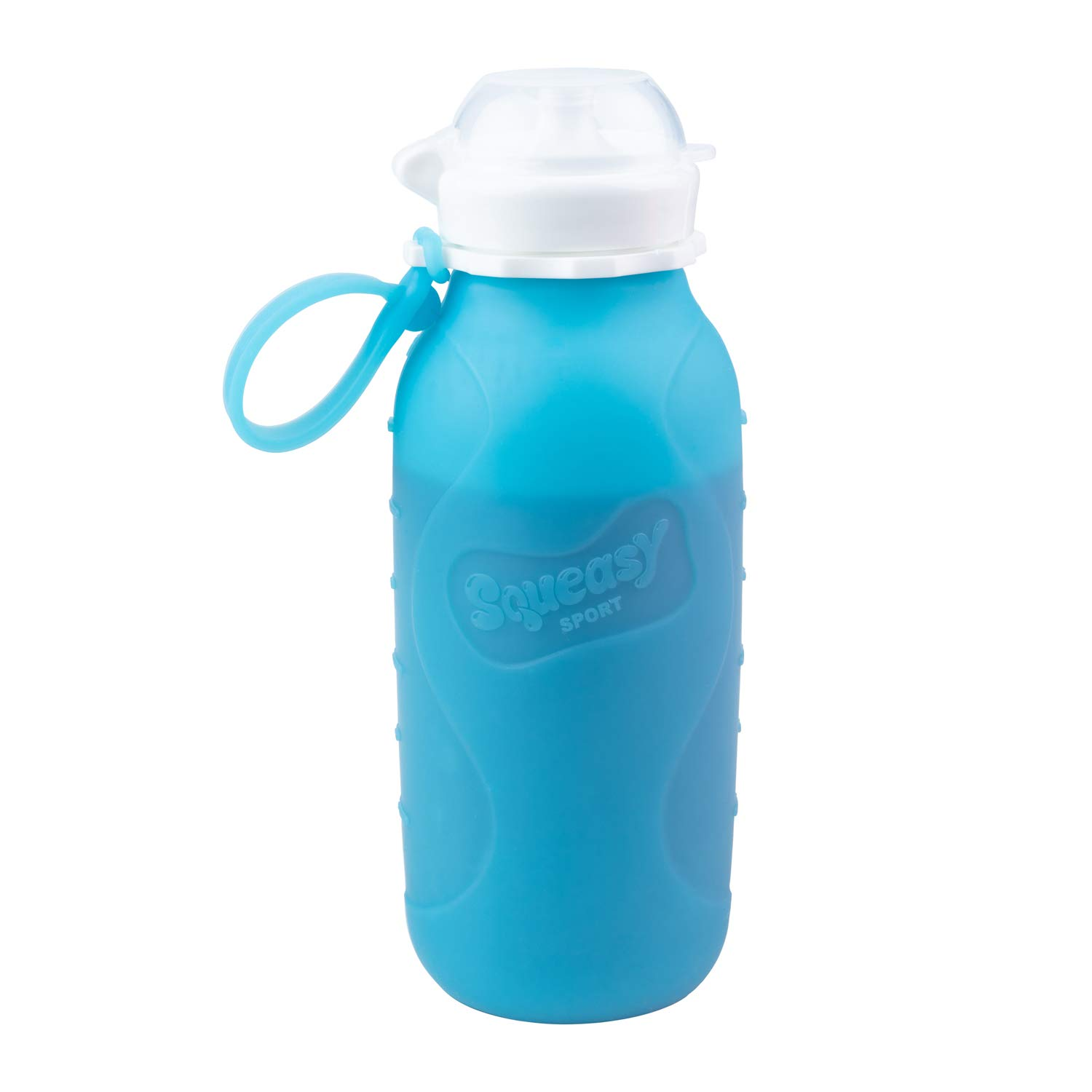 Blue 16 oz Squeasy Snacker Spill Proof Silicone Reusable Food Pouch - for Both Soft Foods and Liquids - Water, Apple Sauce, Yogurt, Smoothies, Baby Food - Dishwasher Safe