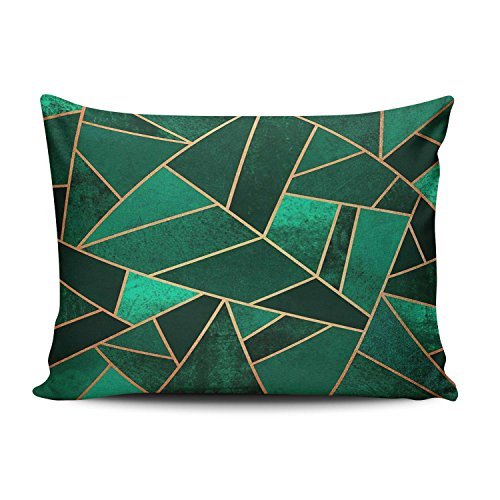 KEIBIKE Personalized Emerald and Copper Fashion Design Rectangle Decorative Boudoir Pillowcases Green Retro Zippered Throw Pillow Covers Cases 12x16 Inches One Sided