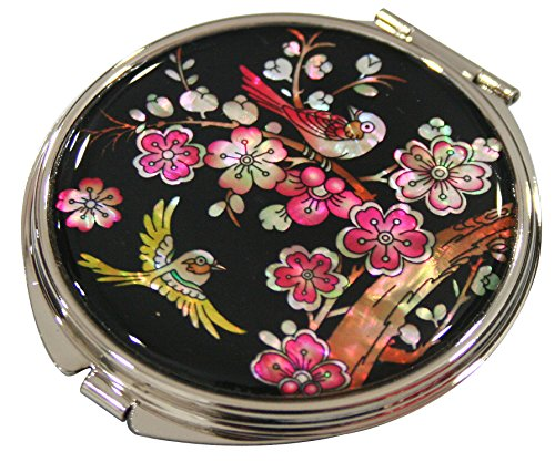 Price comparison product image Handmade Handcrafted Mother of Pearl Magnifying Double Compact Cosmetic Makeup Round Hand Mirror lacquer wares inlaid with Plum and Blossom Design