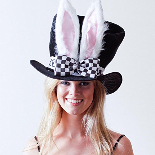 Jacobson Hat Company Men's Velvet Bunny Ear Top Hat with Checkered Bow Tie, Black, Adult]()