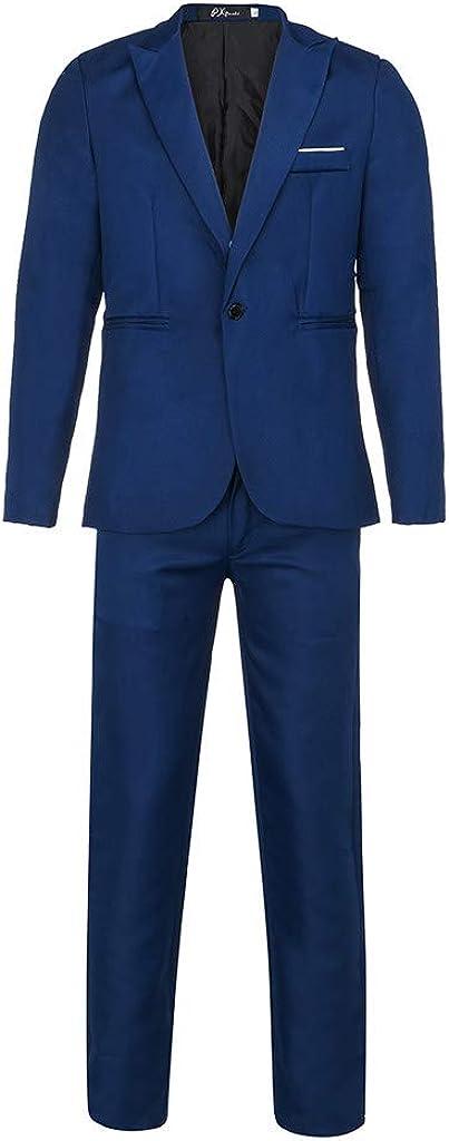 Costume Homme Mariage 2 Pi/èces Un Bouton Blazer Pas Cher Pantalon de Costume Slim Fit El/égant Business Party Youngii
