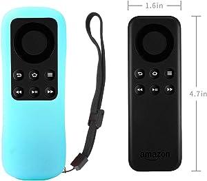 Fire TV Stick Non-Alexa Voice Remote Case SIKAI Silicone Protective Cover for Fire TV Stick Basic Edition Remote Anti-Slip Shockproof Washable Anti-Lost with Remote Loop (Glow in Dark Blue)