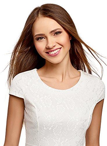 Encaje de Blanco Vestido 1200n oodji Mujer Ultra 6qR8SxIF