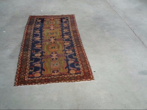 HeSamCrafts Hand Knotted Auntique Blue and Orange wool Area rug (4'3 x 9'6) 4 Feet by 9 Feet Rug Geometric Carpet kitchen rugs (Sale Vintage Wool)