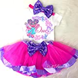 Birthday Tutu Outfit Abby Cadabby Pink Purple 3pcs Headband Romper