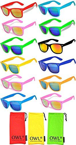 Colored Sunglasses Wayfarer (Wholesale Bulk Matte Colored Mirrored and Smoke Lens Sunglasses 12 pairs with 3 soft microfiber bag OWL)