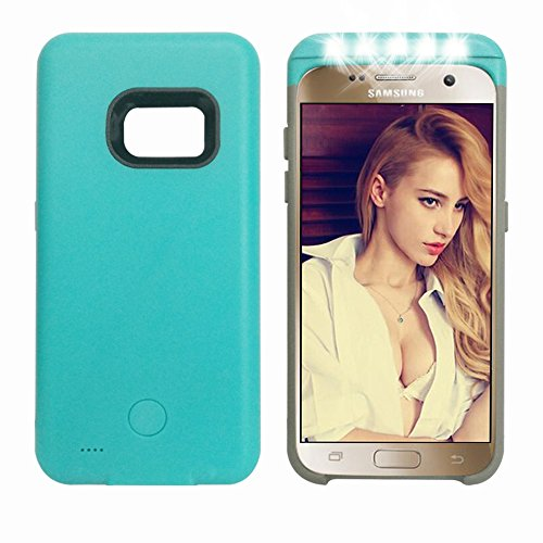 Samsung galaxy s7 LED flash case,Ipeson LED Selfie Case with Power Bank 2600mAh for Samsung Galaxy S7, Adjustable LED Lights Pc + TPU Combo Case,hybrid Protection Case (Sky Blue)