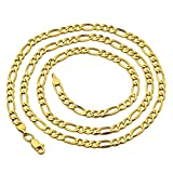 LoveBling 10K Yellow Gold Solid Figaro Chain Necklace, Available in 2mm to 6.5mm, 16'' to 30'' (4.5mm, 22'')