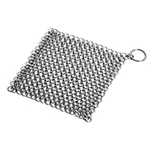 Bigear Cast Iron Cleaner - XXL 8x8 Inch More Efficient Stainless Steel Chainmail Scrubber for Skillet,Pan,Griddle