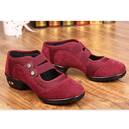 Belt Mesh Suede Women's Shoes Dance Red Timestep CHNHIRA xqR6wWRA