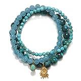 Satya Jewelry Women's Turquoise & Angelite Gold Durga Stretch Bracelet Set, Blue, One Size