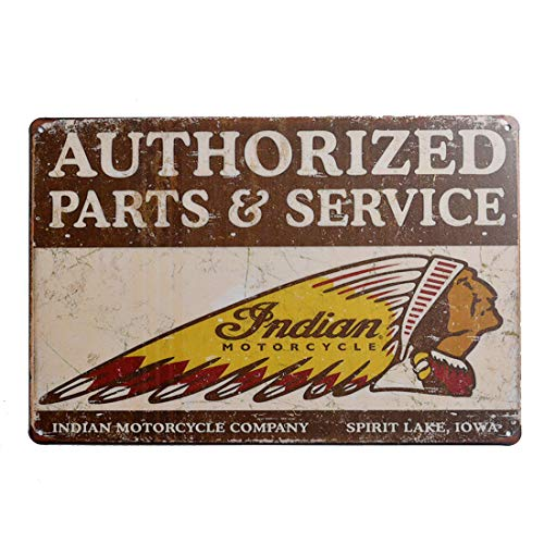 Retro Tin Metal Sign, Indian Motorcycle Authorized Parts & Service, Home Garage Man Cave Bar Decor, 8x12 inch