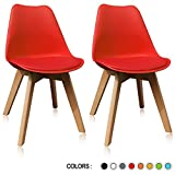 Krei Hejmo Plastic Dining Chair Side Chair with Wood Base – Set of Two (2) (Red) For Sale