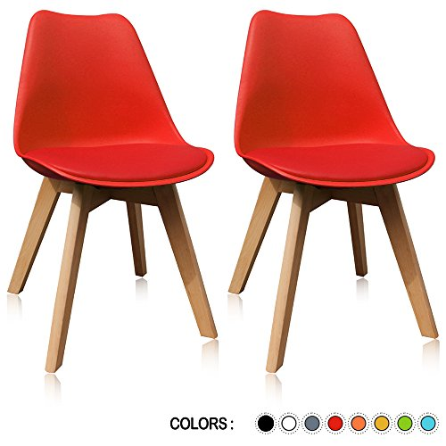 - Krei Hejmo Plastic Dining Chair Side Chair with Wooden Base - Set of Two (2) (Red)