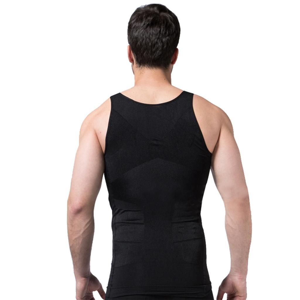 L ZEROBODYS Faja reductora hombres camisa de el/ástica de adelgazamiento de la forma chaleco escultural negro Ssy-1