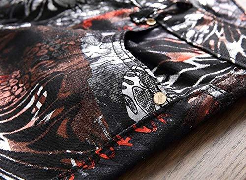 Aderenti Ssige jeans Senza Micro Jeans Vintage Da Pantaloni Cintura Micro Moda Neri A Media Elasticizzati Colored Uomo Sigaretta Casual Vita Di Classiche Ragazzi PxHCq78x6w